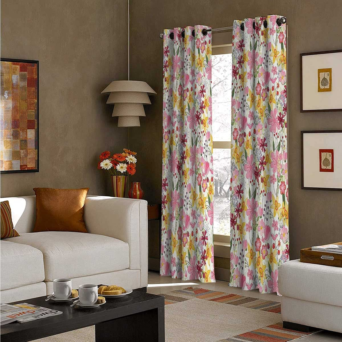 Grommet Curtain Panel 96 Inch Daffodils Tulips G free shipping Industry No. 1 Cartoon Length