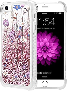 Caka iPhone 5 5S SE Case, iPhone SE Floral Glitter Case Luxury Fashion Bling Flowing Liquid Floating Sparkle Glitter Soft TPU Case for iPhone 5 5S SE 2016 (Pink Flower)