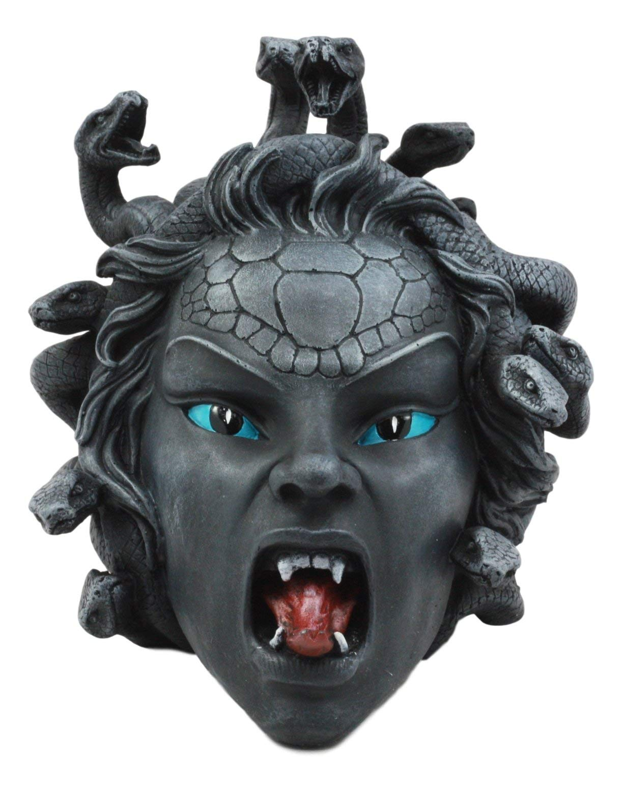 Ebros - Estatua de cabeza de medusa con maldición de Gorgon, mitología griega, 6.25 pulgadas de alto, gaza, serpiente, demonio, figura (encarnada): Amazon.es: Jardín