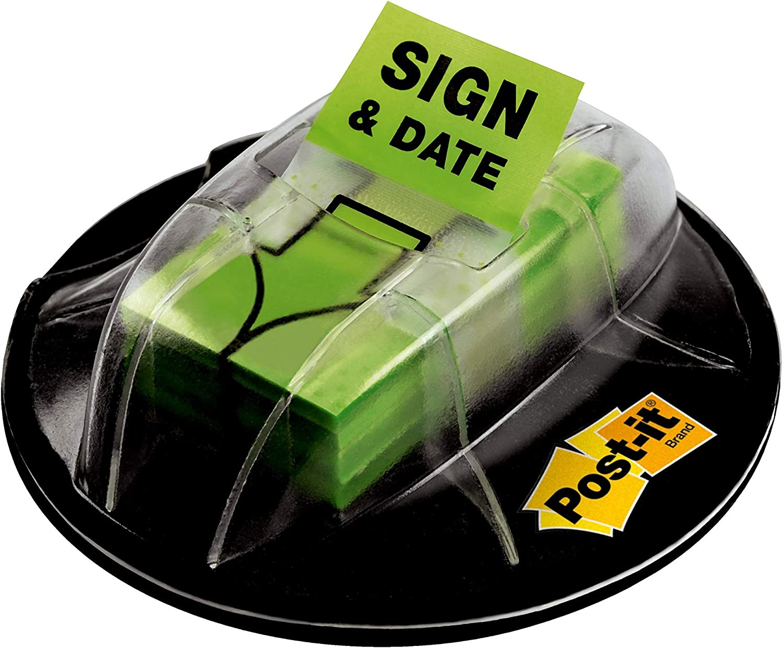 200//Desk Grip Dispenser 1-Dispenser//Pack 1-Inch Wide 680-HVSD Bright Green Post-it Message Flags,Sign and Date 1 Pack
