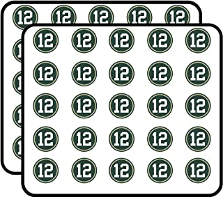 Round #12 Aaron Rodgers Packers Colors (Green Bay Number 12) Sticker for Scrapbooking, Calendars, Arts, Kids DIY Crafts, Album, Bullet Journals