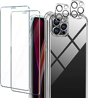 AROYI Funda Compatible mit iPhone 12 Pro 6.1 Pulgadas,2 Pack Cristal Templado y 2 Pack Lente de cámara