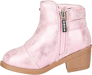 bebe Toddler Girls Metallic Boots Size 5 with Buckle Straps Slip-On Mid-Heel Fashion PU Shoes Light Pink