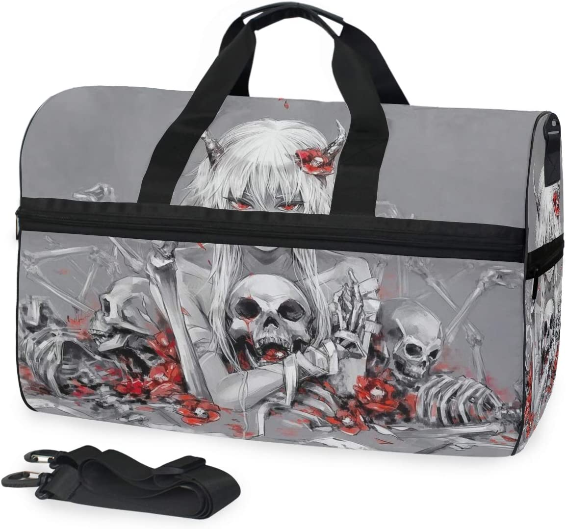 favorite Sports Swim Gym Bag with Shoes King Compartment W Red Grey Skull SEAL limited product