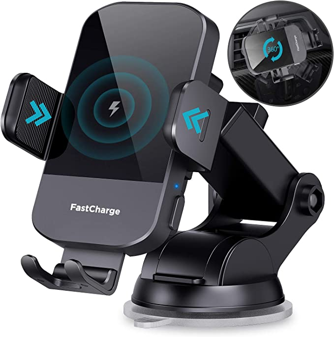 Wireless Car Charger, CHGeek 15W Qi Fast Charging Auto Clamping Car Charger Phone Mount Windshield Dashboard Air Vent Phone Holder for iPhone 11 Pro Max Xs, Samsung Galaxy S20, S10+ S9+ Note 9, etc