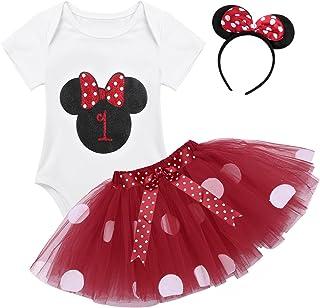 TiaoBug Baby Mädchen Kleidung Set Kleider Baumwolle Strampler Prinzessin Kostüm Neugeborene Polka Dots Tutu Kleid mit Haarreif