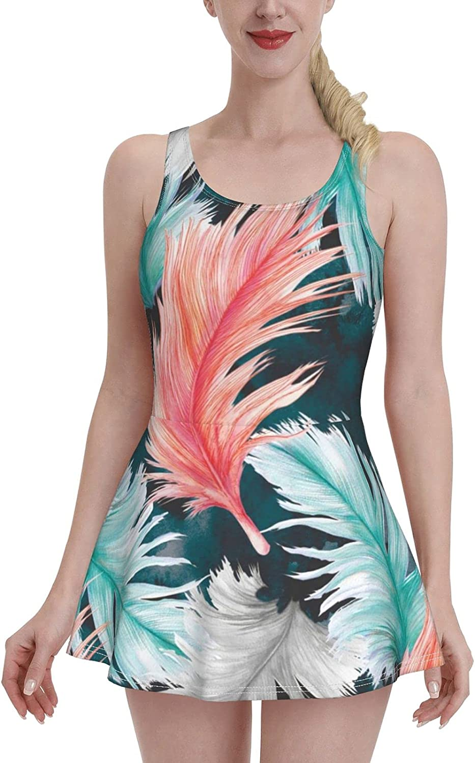 Flowing Sale Special Price Feathers Ladies Ruffled Adjustab One-Piece Large-scale sale Swimsuit with