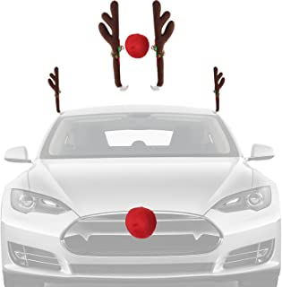 Christmas Car Decorations Reindeer Kit – Holiday Car Window Decor Rooftop Antlers and Auto Grill Red Nose Decor for Costume Your Car with Rudolph The Red Nose Reindeer Ornament Set by Ideas In Life