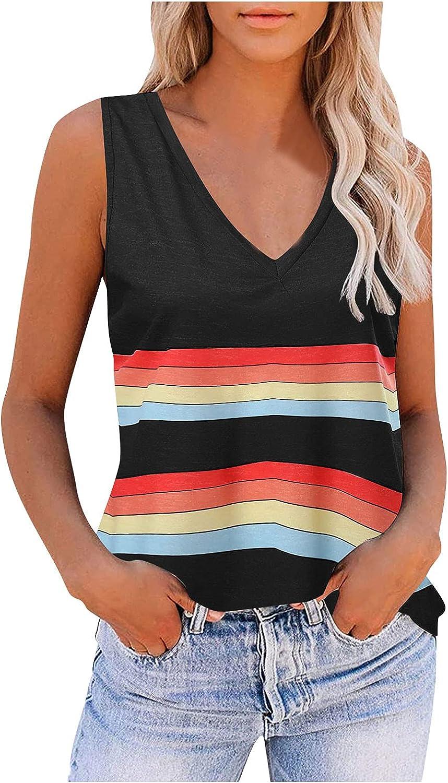 POLLYANNA KEONG Womens Tank Tops Plus Size,Women's Crewneck Basic Tank Tops Casual Loose Sleeveless Color Block Shirts
