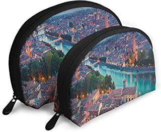 Shell Shape Makeup Bag Set Portable Purse Travel Cosmetic Pouch,Verona Italy During Summer Sunset Blue Hour Adige River Medieval Historcal,Women Toiletry Clutch