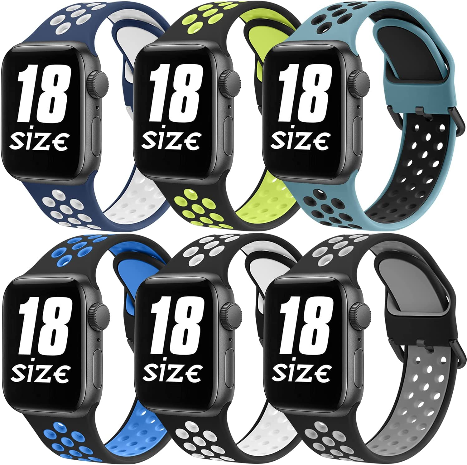 [6 Pack] Bands Compatible with Apple Watch Bands 42mm 44mm Series 6 5 4 3 2 1 & SE, Soft Silicone Replacement Wristbands Compatible for iWatch Series SE 6 5 4 3 2 1 (6 Pack C, Large)