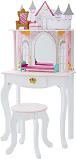 Teamson Kids Pretend Play Kids Vanity Table and Chair Vanity Set with Mirror Makeup Dressing Table with Drawer Castle Play...