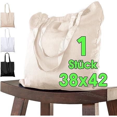 Baumwolltasche 38x42 cm Stück unbedruckt, zwei lange Henkel OEKO-TEX® zertifiziert Stofftasche, Tragetasche, Baumwollbeutel, Einkaufstasche, Jutebeutel, Stoffbeutel Einkaufsbeutel zum bemalen Natur