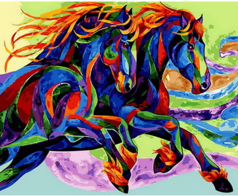 Waofe Peinture Par Numéros Animaux Décoration Murale Bricolage Image Par Numéros Sur Toile Pour Décor à La Maison Cheval Couleuré- No Frame4