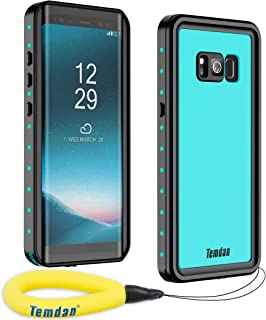 Temdan Samsung Galaxy S8 Waterproof Case Supported Wireless Charging Full-Body Protection Built in Screen Protector with Floating Strap Waterproof Case for Galaxy S8 (Blue)
