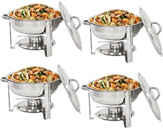 SUPER DEAL Upgraded 5 Qt Full Size Stainless Steel Chafing Dish Round Chafer Buffet Catering Warmer Set w/Food and Water Pan, Lid, Solid Stand and Fuel Holder
