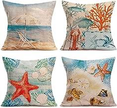 Asminifor Summer Ocean Coastal Decor Cotton Linen Beach Coastal Throw Pillowcases Sea Life Seashell Starfish Crab Coral Cushion Cover 18 x 18 Inch Set of 4, Marine Animals, Sling Chair(Beach Life Set)