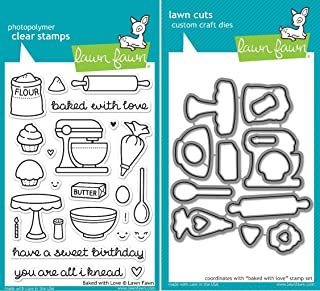 Lawn Fawn Baked With Love Clear Stamp and Die Set - Includes One Each of LF805 (Stamp) & LF806 (Die) - Bundle Of 2