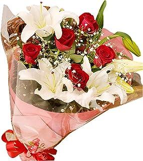 valentine スイートラブ 赤バラカサブランカ花束