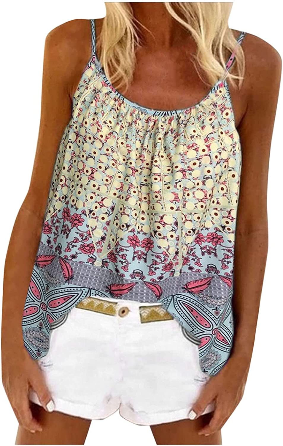 NREALY Fashion Women Sleeveless Vest Floral Print Mother's Day Summer Sling Tops