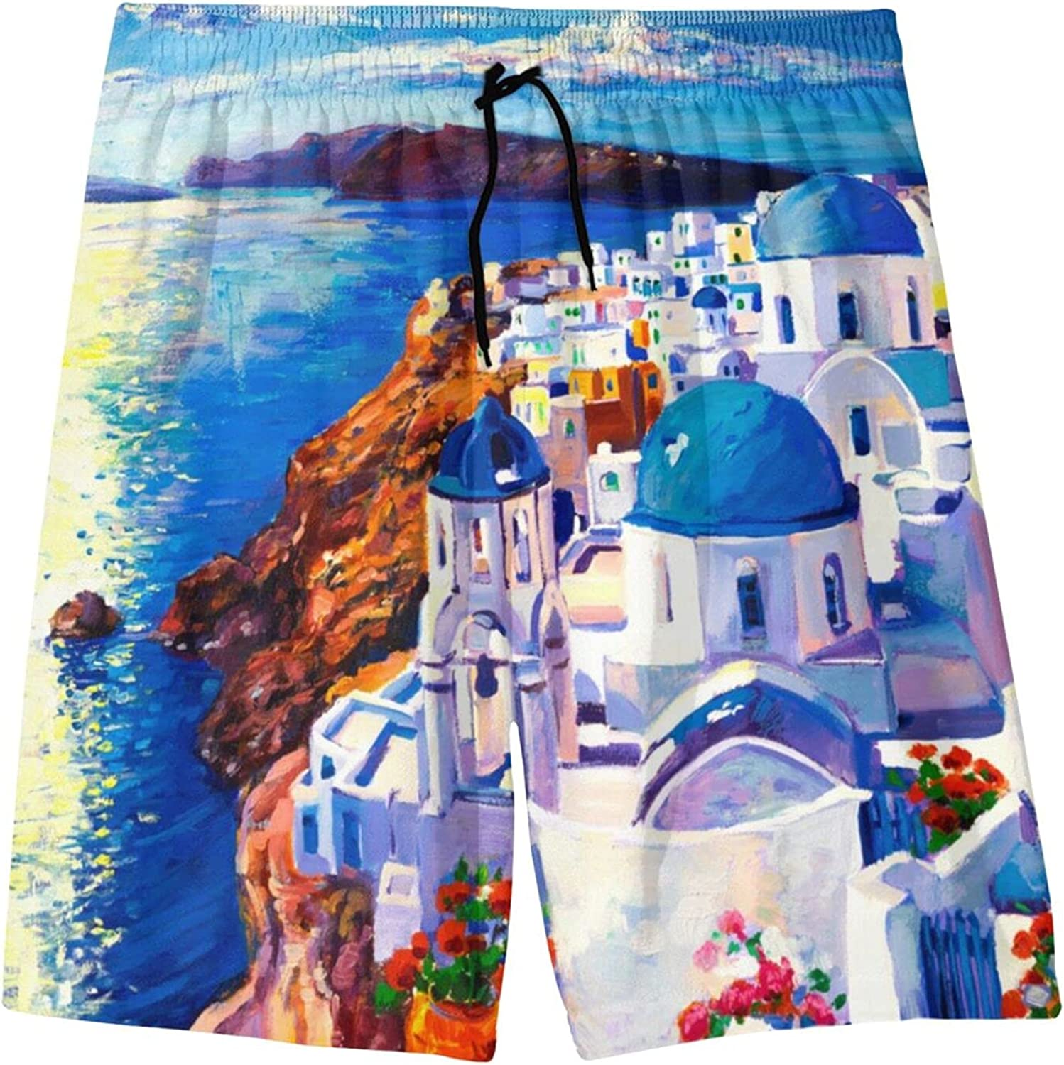 Santorini Painting Boys Quick Dry Swim Trunks Youth Novelty Beach Surfing Board Shorts 7-20 Years