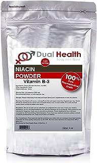 4 oz Niacin Nicotinic Acid Powder (113.4g) Vitamin B3 Lower Cholesterol Heart Health Pharmaceutical Micronized USP & FCC Food Grade By Dual Health