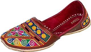 JOPELLE Men's Multicolour Leather Round Punjabi Juttis…