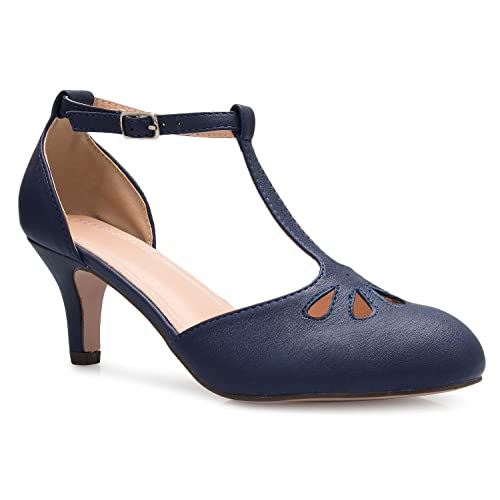 OLIVIA K Womens Kitten Low Heels T-Strap Pumps - Adorable Vintage Retro Shoes with