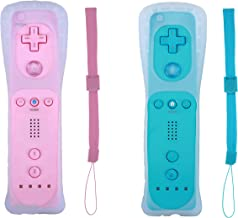 Poglen 2 Packs Wireless Gesture Controller Compatiable for Nintendo wii/wii u console-With Silicone Case and Wrist Strap for wii Controller (Pink and Blue)
