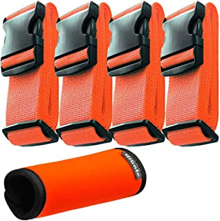 Hibate 2/4Pack Luggage Straps Belts and 1Pack Neoprene Suitcase Handle Wrap Grip Tags