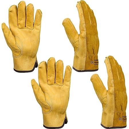 Gardening Gloves for Men Women, Xndryan 2 Pairs Gardening Gloves Heavy Duty Garden Gloves Thorn Proof, Breathable and Comfortable Leather Work Gloves for Garden, Yard, Mechanic, Welding(XL)