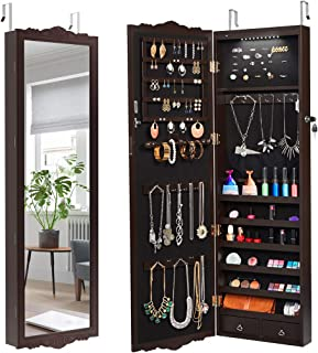 white wood over the door jewelry armoire mirror