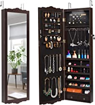 LANGRIA 10 LED Jewelry Armoire with Mirror, Lockable Wall-Mounted Over-The-Door Hanging Jewelry Cabinet with 3 Adjustable Heights, Carved Design with 2 Drawers (Brown)