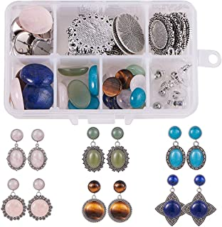 SUNNYCLUE 1 Box DIY 6 Pairs Natural Gemstone Cabochon Dangle Stud Earrings Making Starter Kit Jewelry Arts Craft Supplie Set for Adults Beginners