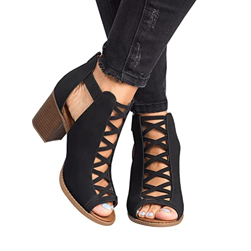 923ddcd8834 Womens Cutout Open Toe Sandals Chunky Block High Heel Lace Up Booties