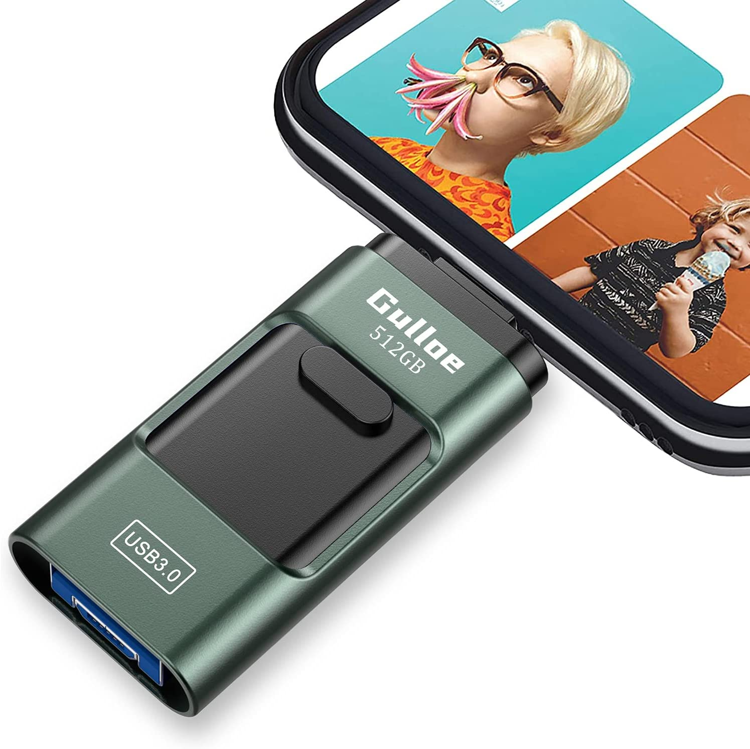 Gulloe USB3.0 Flash Drive 512GB, USB Memory Stick External Storage Thumb Drive Photo Stick Compatible with iPhone, Android, Computer and More Devices (Dark Green)