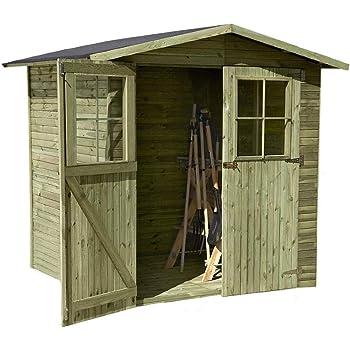 16 m/² TIMBELA M330 Blockbohlen Gartenhaus aus Massiv-Holz MIT Fu/ßboden Kiefer//Fichte Chalet 418x420 cm