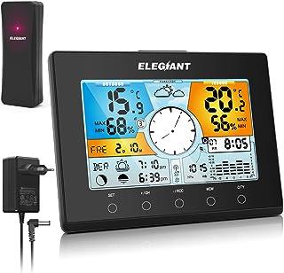 ELEGIANT Station Météo, Baromètre Thermomètre Hygromètre Intérieure Extérieure avec Capteur sans Fil, Alarme Snooze Horlog...