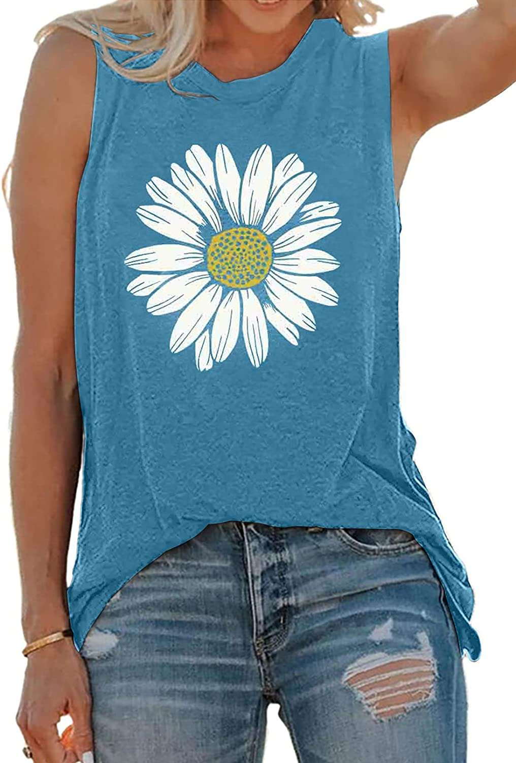 Asvivid Graphic Tank Tops for Womens Summer Casual Loose Sleeveless Shirts Dandelion Letter Printed Round Neck Tees