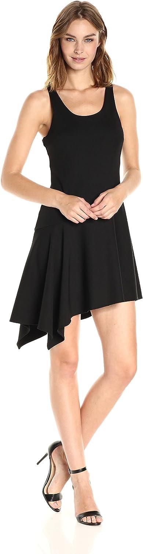 Halston Heritage Womens Sl Rnd Neck Ribbed Jerseydress W Flnce Skirt Dress