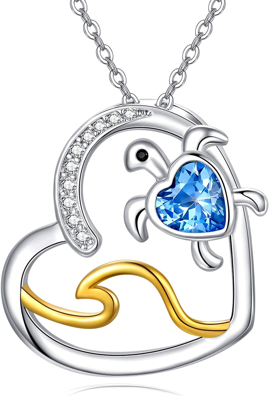 Opal Product Turtle Raleigh Mall Necklaces for Women Blue Sterling Crysta S925 Silver