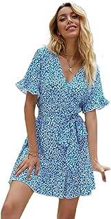 فستان مطبع بتصميم مورد ونمط ديتسي واطراف مكشكشة للنساء