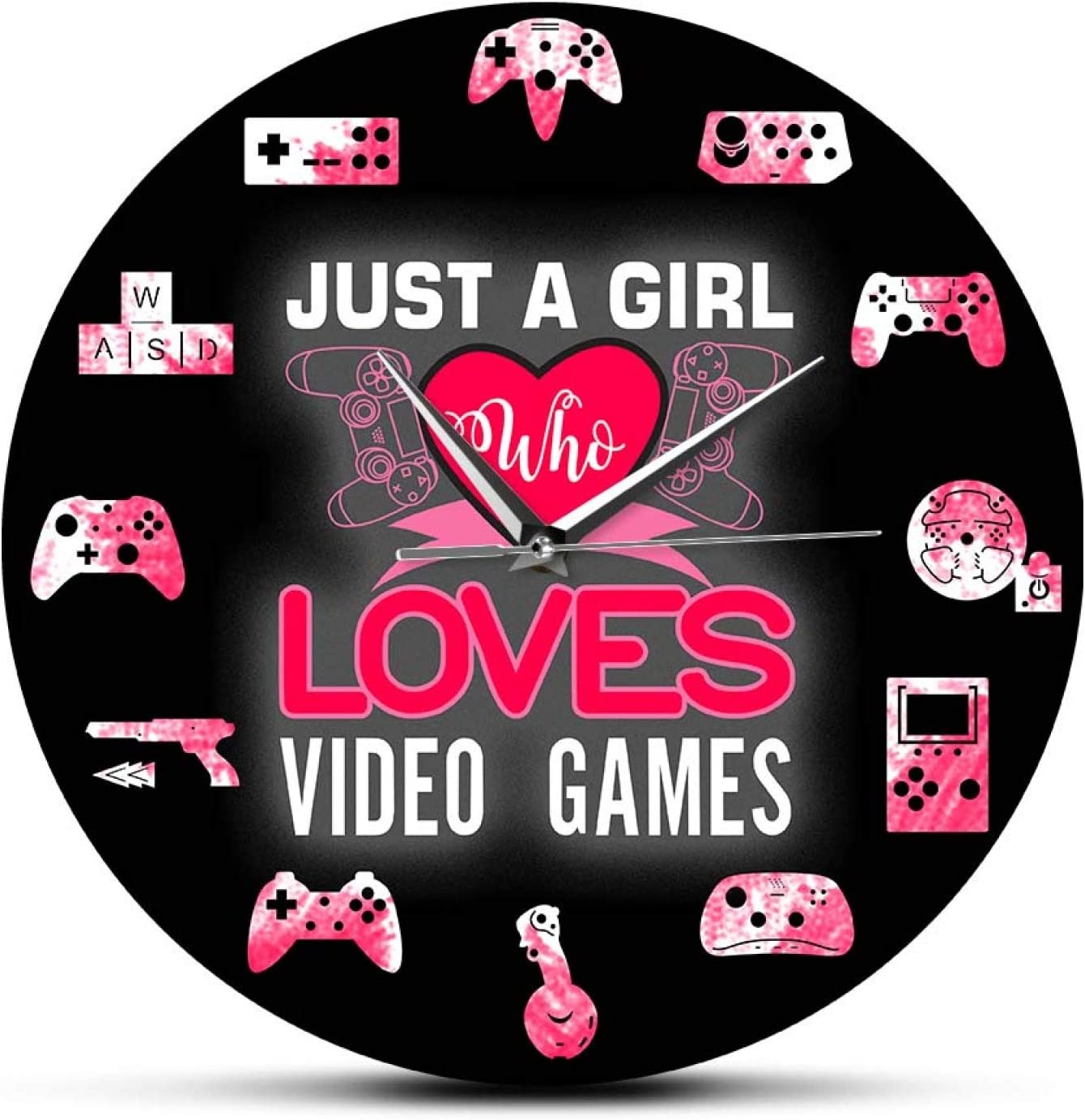 Wall Clock Just a Girl Who Loves New Free Shipping Female Quote Video Cheap bargain Games Gamers