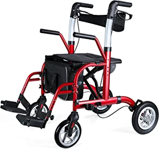 """Healconnex 2 in 1 Rollator Walker for Seniors-Medical Walker with Seat,Folding Transport Wheelchair Rollator with 10"""" Big ..."""