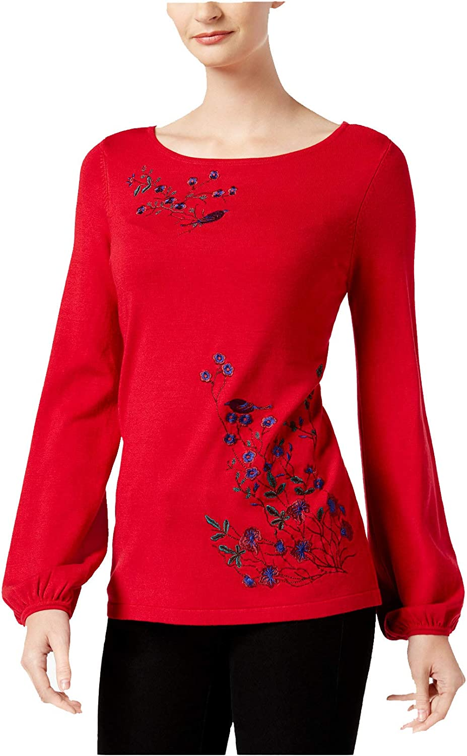 Charter Club Womens Embroidered Knit Blouse