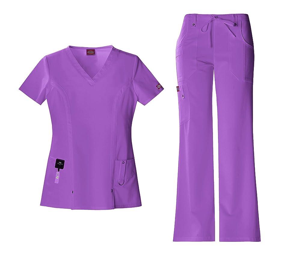 Dickies Xtreme Stretch Women's Scrub Set Bundle - 82851 V-Neck Top & 82011 Drawstring Pant & Marc Stevens Badge Reel