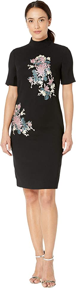 Elbow Sleeve Embroidered Mock Neck Crepe Dress