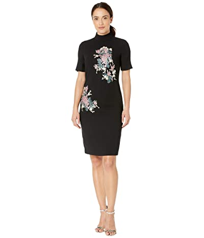 Tahari by ASL Elbow Sleeve Embroidered Mock Neck Crepe Dress (Black/Rose/Ivory) Women
