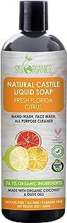 Castile Soap Organic Florida Citrus by Sky Organics (8oz), Plant Based Liquid Soap and All Purpose Wash, Vegan & Cruelty-Free, Citrus Essential Oils Natural Castile Soap Savon de Marseille