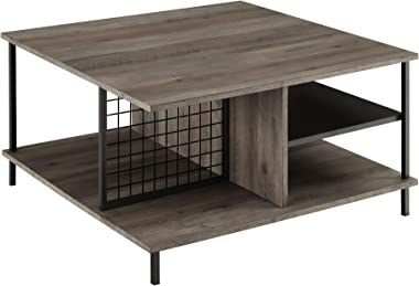 Walker Edison Metal and Wood Square Coffee Table Living Room Accent Ottoman Storage Shelf, 30 Inch, Grey Wash